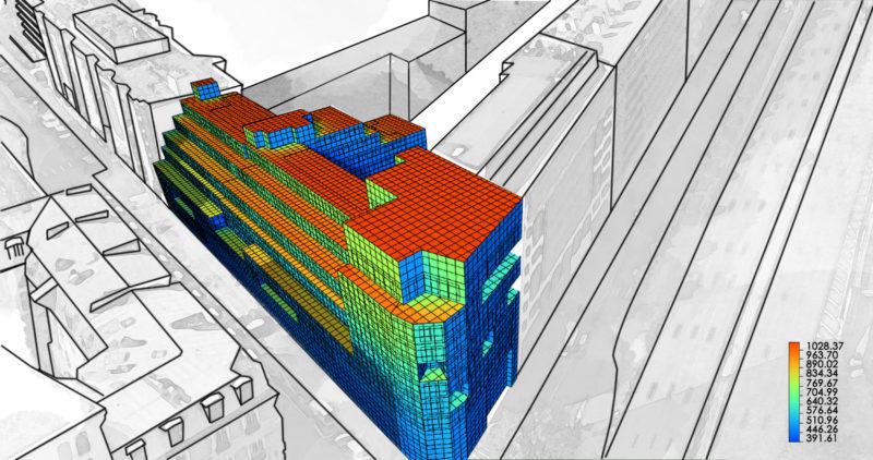 Simulation de rayonnement solaire sur la façade  - Projet tertiaire «Graviers», Neuilly-sur-Seine